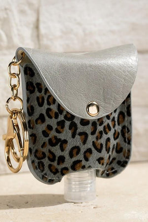 CUTE AND CLEAN HAND SANITIZER KEY CHAIN HOLDER-GRAY LEOPARD - Infinity Raine