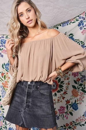 Heart Breaker Off The Shoulder Top-Latte - Infinity Raine