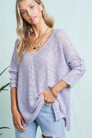 Born To Fly Loose Knit Tunic Top-Lavender Mist - Infinity Raine