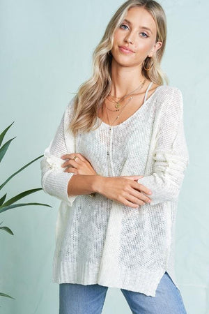 Born To Fly Loose Knit Tunic Top-Ivory - Infinity Raine