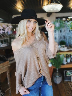 My Plus One Short Sleeve Sweater Top-Mocha - Infinity Raine