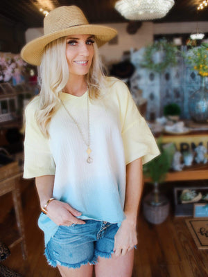 Endless Summer Ombre Tunic Top-Yellow/Mint - Infinity Raine