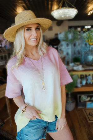Endless Summer Ombre Tunic Top-Mauve/Yellow - Infinity Raine