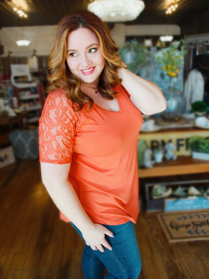 CALLING MY NAME LUXE LACE SHORT SLEEVES PLUS SIZE  TUNIC TOP-ASH COPPER - Infinity Raine
