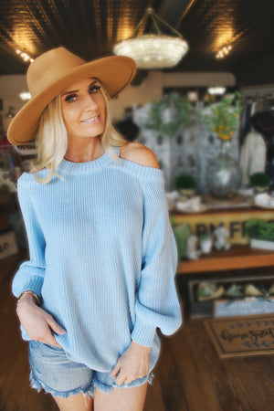 Before You Leave Cold Shoulder Sweater-Baby Blue - Infinity Raine