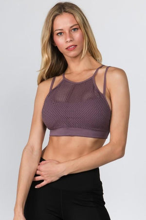 MESH LAYER SPORTS BRA-SMOKE MAUVE - Infinity Raine