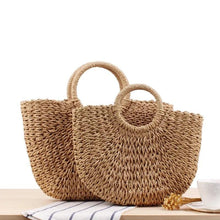 Load image into Gallery viewer, TAKE A STROLL STRAW HALF-MOON TOTE-KHAKI - Infinity Raine