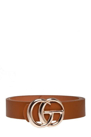 Got It All Classic Faux Leather Belt-Cognac - Infinity Raine