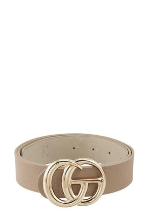Got It All Classic Faux Leather Belt-Taupe - Infinity Raine