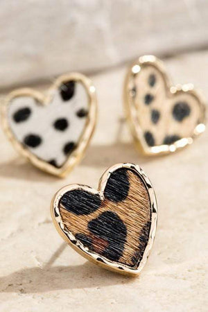Double Heart Animal Print Studs - Infinity Raine