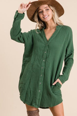 LOVING LIFE TUNIC DRESS- OLIVE - Infinity Raine