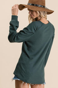 WHAT I LIKE WAFFLE KNIT TUNIC TOP-HUNTER GREEN - Infinity Raine