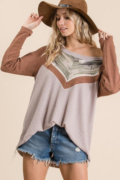 GET A MOVE ON WAFFLE KNIT LONG SLEEVE TOP-TAUPE/BROWN