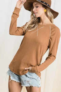 FALLING FAST KNIT LONG SLEEVE TOP- BROWN - Infinity Raine