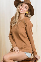 Load image into Gallery viewer, FALLING FAST KNIT LONG SLEEVE TOP- BROWN - Infinity Raine