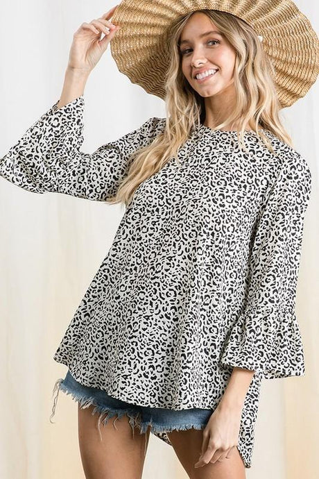 LOOK THIS WAY BELL SLEEVE TUNIC TOP- BLACK AND WHITE LEOPARD - Infinity Raine