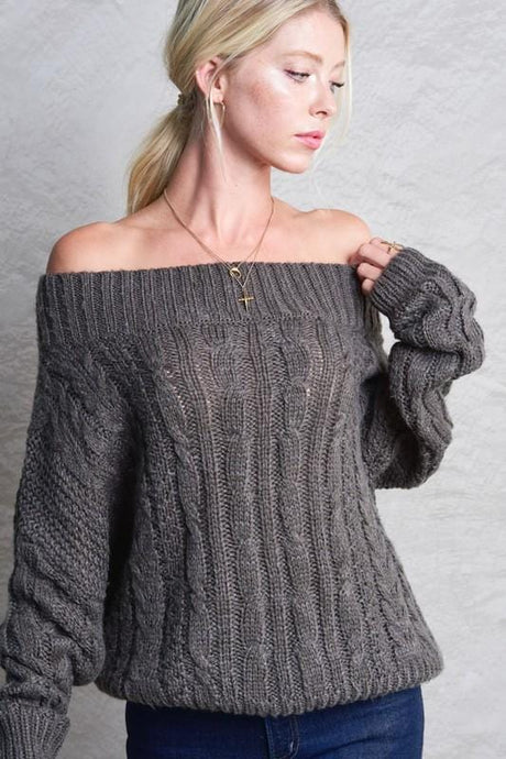 KEEP THINGS SIMPLE OFF SHOULDER SLOUCHY KNIT SWEATER-CHARCOAL - Infinity Raine