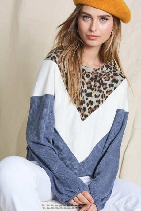 TAKE IT EASY COLOR BLOCK TOP- BLUE - Infinity Raine