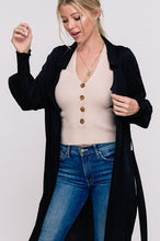 Load image into Gallery viewer, BUSINESS LADY LIGHT WEIGHT TRENCH CARDI- BLACK - Infinity Raine