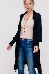 BUSINESS LADY LIGHT WEIGHT TRENCH CARDI- BLACK - Infinity Raine