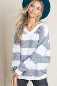 ON THE LOOK OUT SOFT KNIT SWEATER- GREY - Infinity Raine