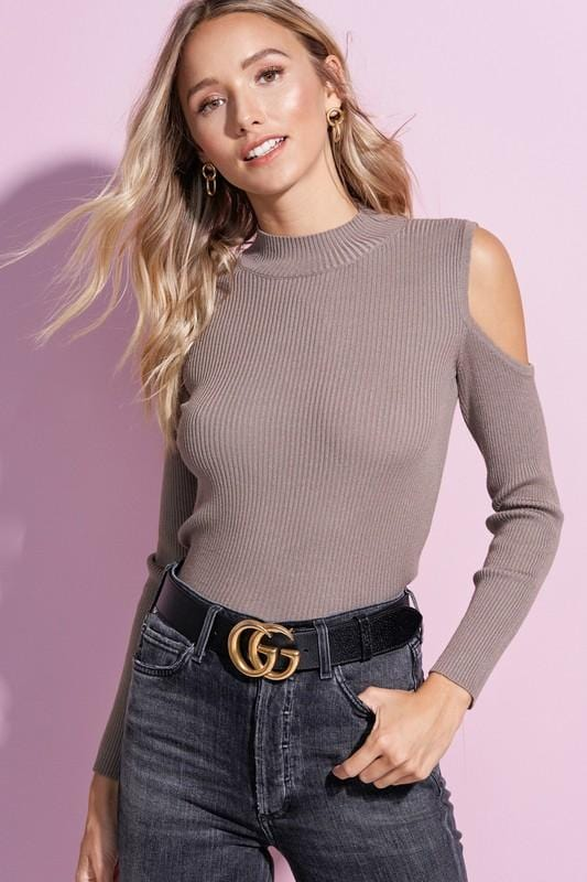 BACK FOR MORE COLD SHOULDER TOP-MOCHA - Infinity Raine