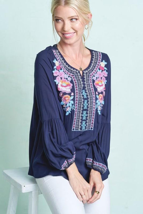 LOOKING FORWARD BOHO CHIC TUNIC TOP-NAVY