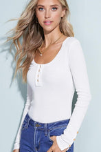 Load image into Gallery viewer, SIMPLY STATED THERMAL HENLEY TOP-WHITE - Infinity Raine