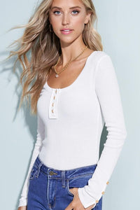 SIMPLY STATED THERMAL HENLEY TOP-WHITE - Infinity Raine
