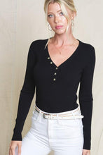 Load image into Gallery viewer, SIMPLE SITUATIONS  HENLEY TOP-BLACK - Infinity Raine