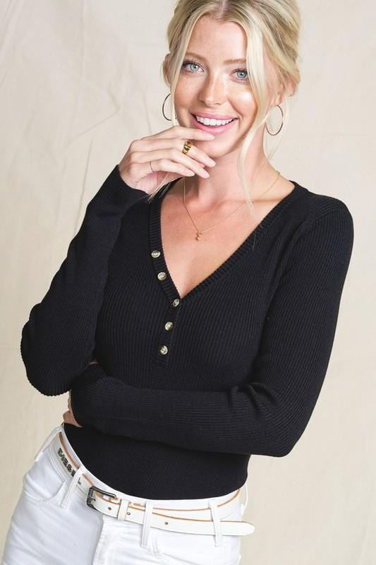 SIMPLE SITUATIONS  HENLEY TOP-BLACK - Infinity Raine