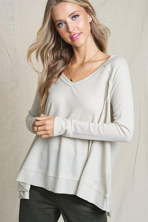 JUST MY TYPE WAFFLE KNIT TOP- TAUPE - Infinity Raine