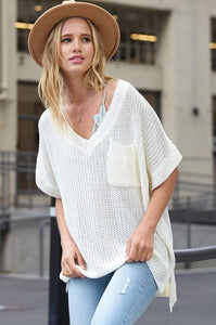 AT ALL HOURS LOOSE FIT SWEATER TUNIC-IVORY - Infinity Raine