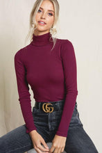 Load image into Gallery viewer, JUST A STEP AHEAD TURTLENECK TOP- BURGUNDY - Infinity Raine