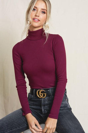 JUST A STEP AHEAD TURTLENECK TOP- BURGUNDY - Infinity Raine