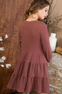 ALL DAY ADVENTURE TUNIC DRESS-RED BROWN - Infinity Raine