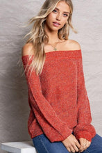 Load image into Gallery viewer, MAKE IT KNOWN OFF THE SHOULDER KNIT TOP- RED - Infinity Raine