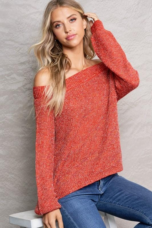 MAKE IT KNOWN OFF THE SHOULDER KNIT TOP- RED - Infinity Raine