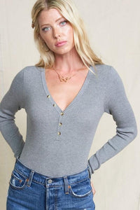 SIMPLE SITUATIONS  HENLEY TOP-HEATHER GREY - Infinity Raine
