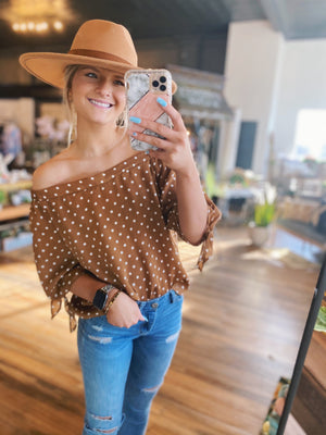 Ready For Vacay Off The Shoulder top-Camel & White - Infinity Raine