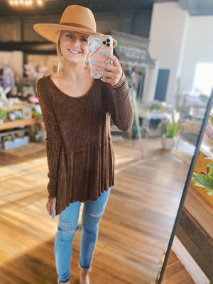 Whisper Perfection Peplum Top-Rust - Infinity Raine