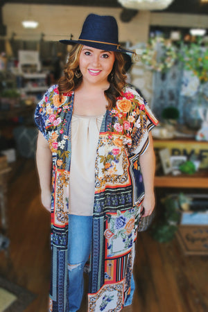 Someone To Love Embroidered Floral Kimono - Infinity Raine