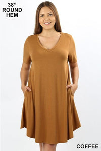 MY EVERYDAY T-SHIRT DRESS PLUS SIZE-MID-COFFEE - Infinity Raine