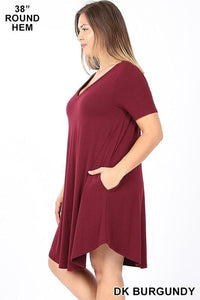 MY EVERYDAY T-SHIRT DRESS PLUS SIZE-DARK BURGUNDY - Infinity Raine