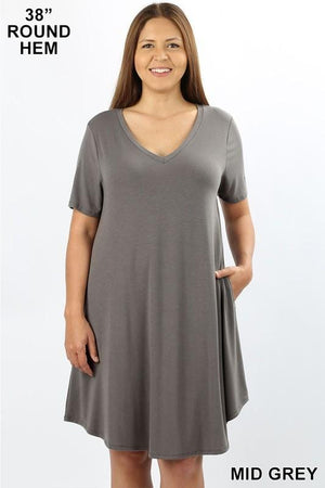 MY EVERYDAY T-SHIRT DRESS PLUS SIZE-MID GREY - Infinity Raine