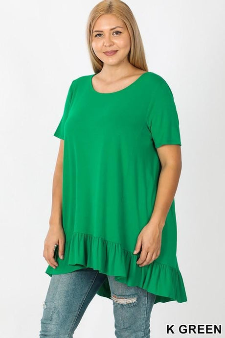 HOW WONDERFUL IT IS RUFFLE PLUS SIZE TUNIC TOP-KELLY GREEN - Infinity Raine