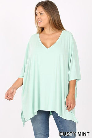 THE FOREVER T-SHIRT PONCHO-DUSTY MINT - Infinity Raine