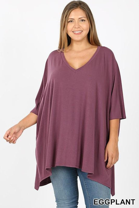 THE FOREVER T-SHIRT PONCHO-EGGPLANT - Infinity Raine