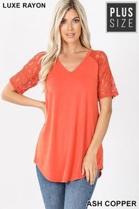 CALLING MY NAME LUXE LACE SHORT SLEEVES TUNIC TOP-ASH COPPER - Infinity Raine
