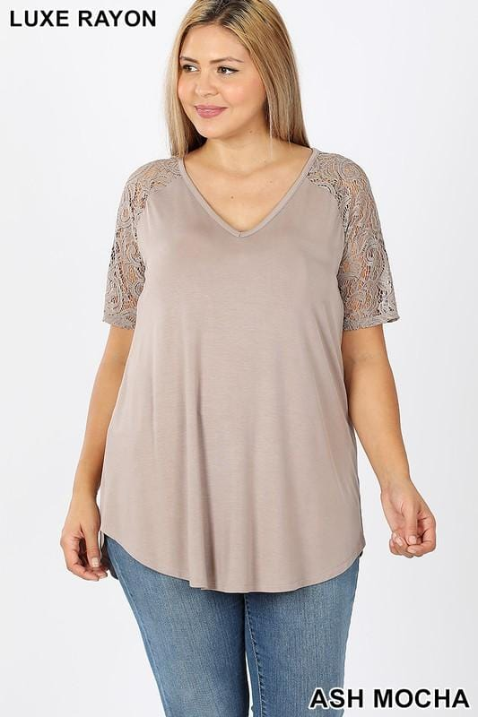 CALLING MY NAME LUXE LACE SHORT SLEEVES PLUS SIZE TUNIC TOP-ASH MOCHA - Infinity Raine